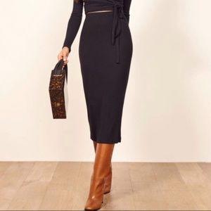 NWT Reformation Ribbed Knit Viola Midi Skirt M